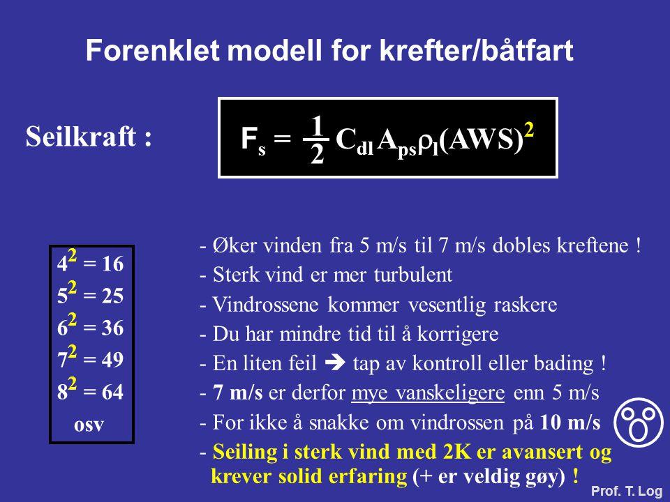 Forenklet modell for krefter/båtfart