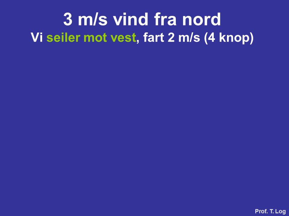 3 m/s vind fra nord Vi seiler mot vest, fart 2 m/s (4 knop)