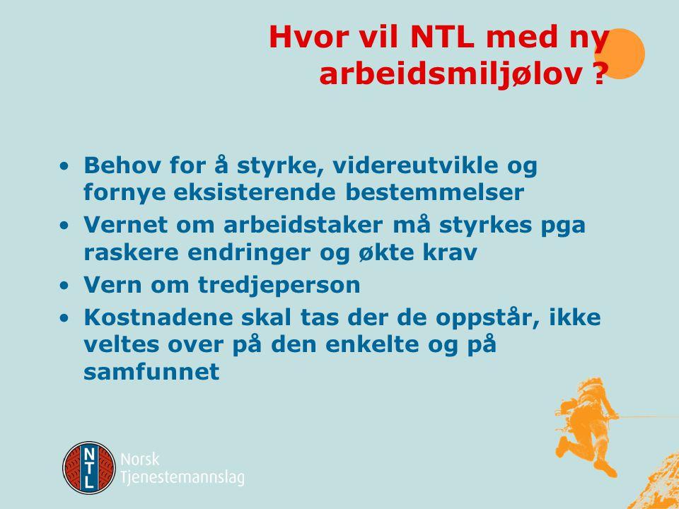 Hvor vil NTL med ny arbeidsmiljølov