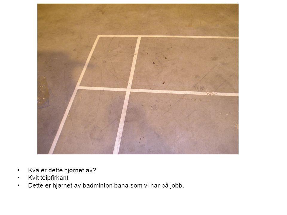 Kva er dette hjørnet av Kvit teipfirkant Dette er hjørnet av badminton bana som vi har på jobb.