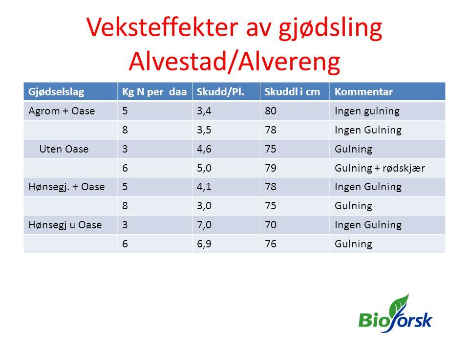 Veksteffekter av gjødsling Alvestad/Alvereng