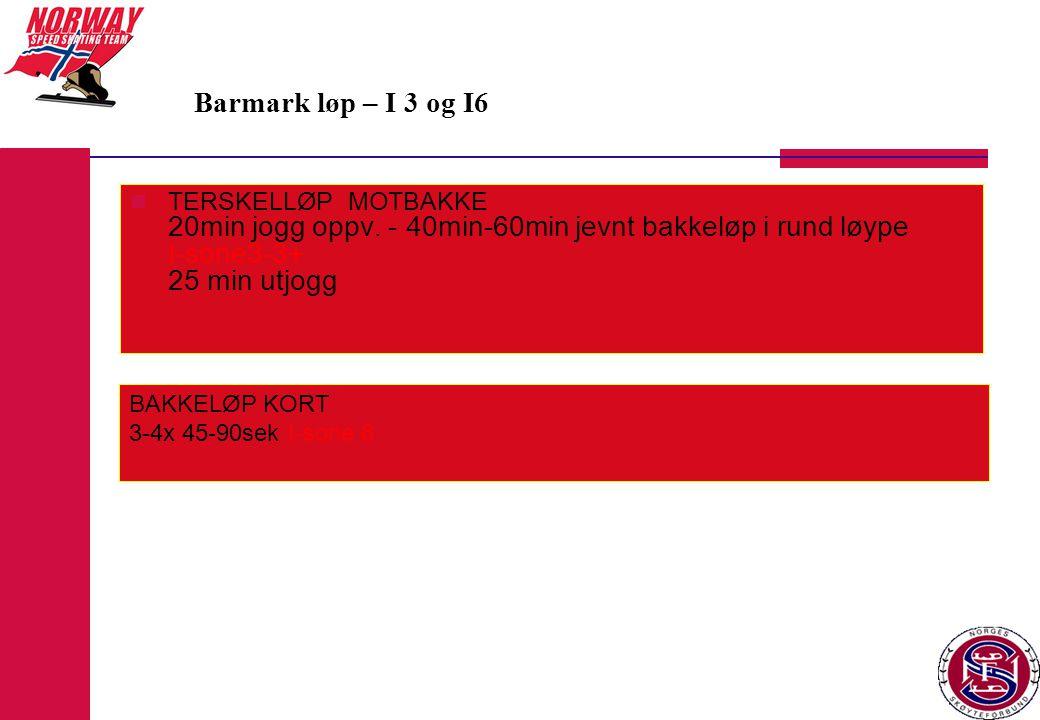 Barmark løp – I 3 og I6 TERSKELLØP MOTBAKKE 20min jogg oppv. - 40min-60min jevnt bakkeløp i rund løype I-sone3-3+ 25 min utjogg.