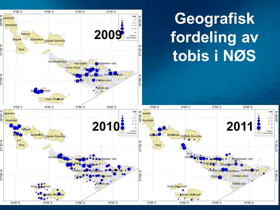 Geografisk fordeling av tobis i NØS