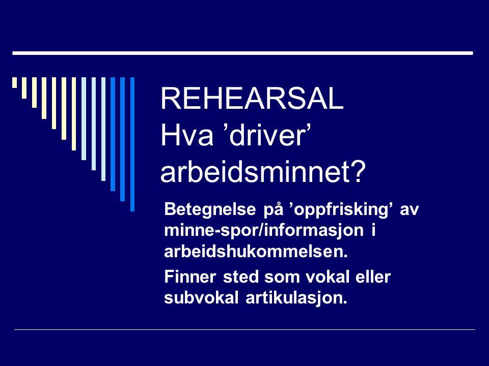 REHEARSAL Hva 'driver' arbeidsminnet