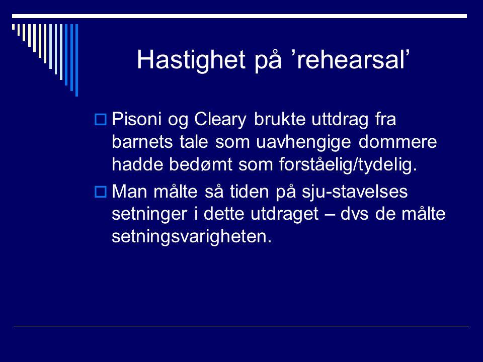 Hastighet på 'rehearsal'