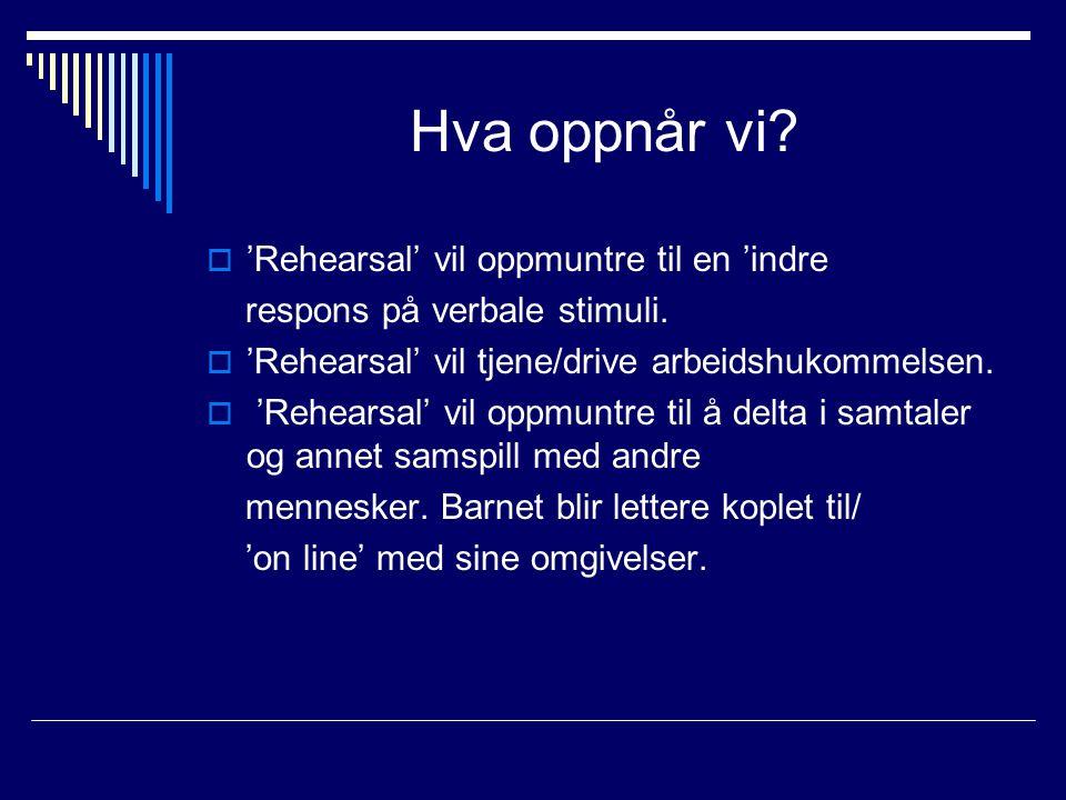 Hva oppnår vi 'Rehearsal' vil oppmuntre til en 'indre
