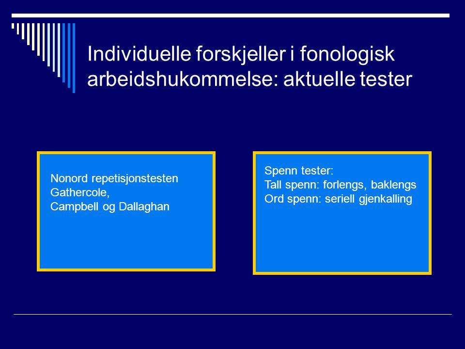 Individuelle forskjeller i fonologisk arbeidshukommelse: aktuelle tester