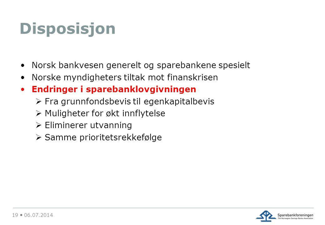 Disposisjon Norsk bankvesen generelt og sparebankene spesielt