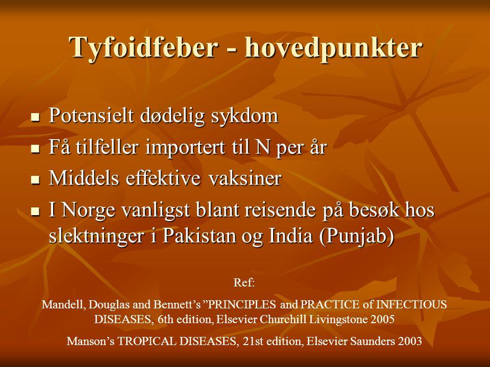 Tyfoidfeber - hovedpunkter