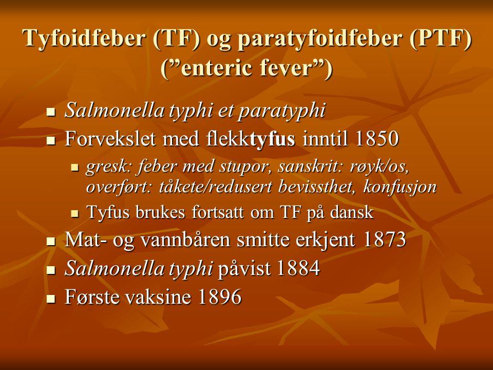 Tyfoidfeber (TF) og paratyfoidfeber (PTF) ( enteric fever )