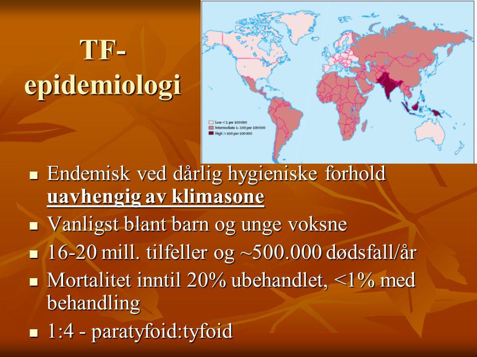 TF-epidemiologi Endemisk ved dårlig hygieniske forhold uavhengig av klimasone. Vanligst blant barn og unge voksne.