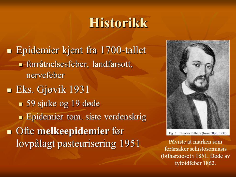 Historikk Epidemier kjent fra 1700-tallet Eks. Gjøvik 1931