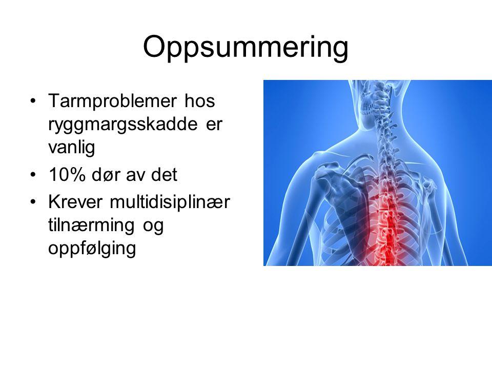 Oppsummering Tarmproblemer hos ryggmargsskadde er vanlig