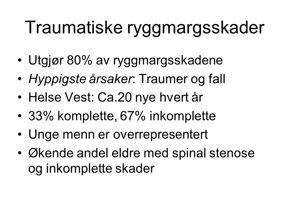 Traumatiske ryggmargsskader