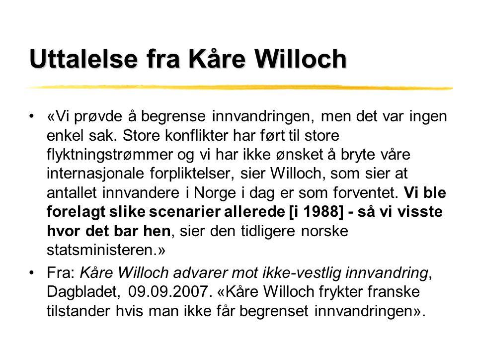 Uttalelse fra Kåre Willoch