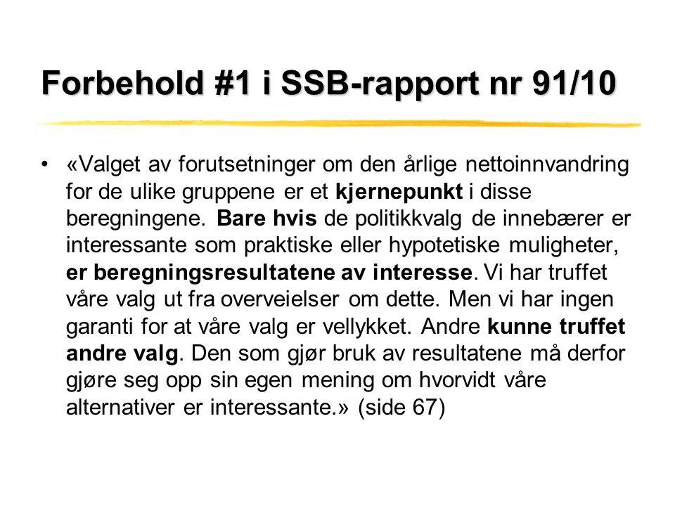 Forbehold #1 i SSB-rapport nr 91/10