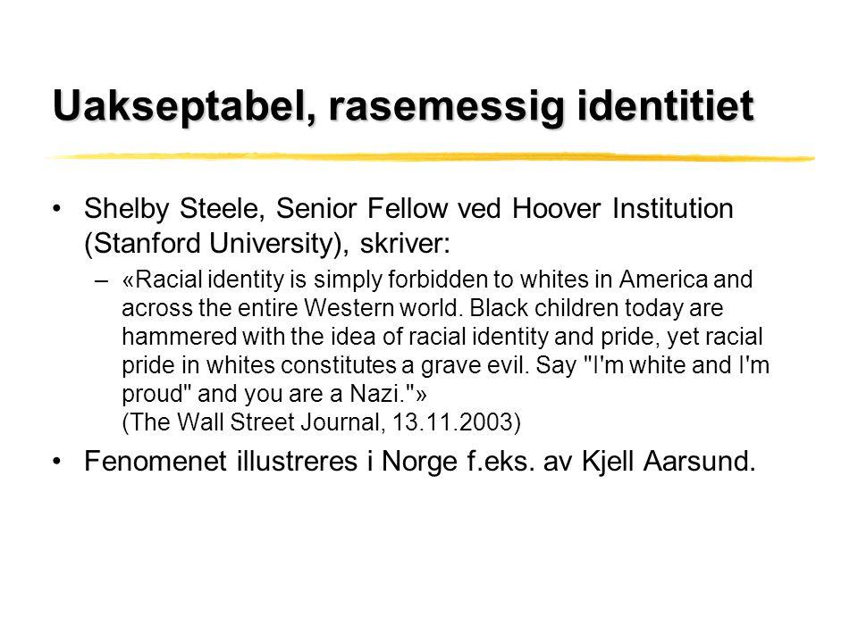 Uakseptabel, rasemessig identitiet