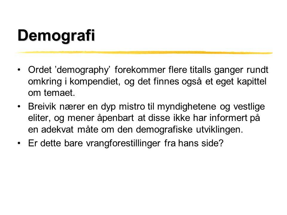 Demografi Ordet 'demography' forekommer flere titalls ganger rundt omkring i kompendiet, og det finnes også et eget kapittel om temaet.