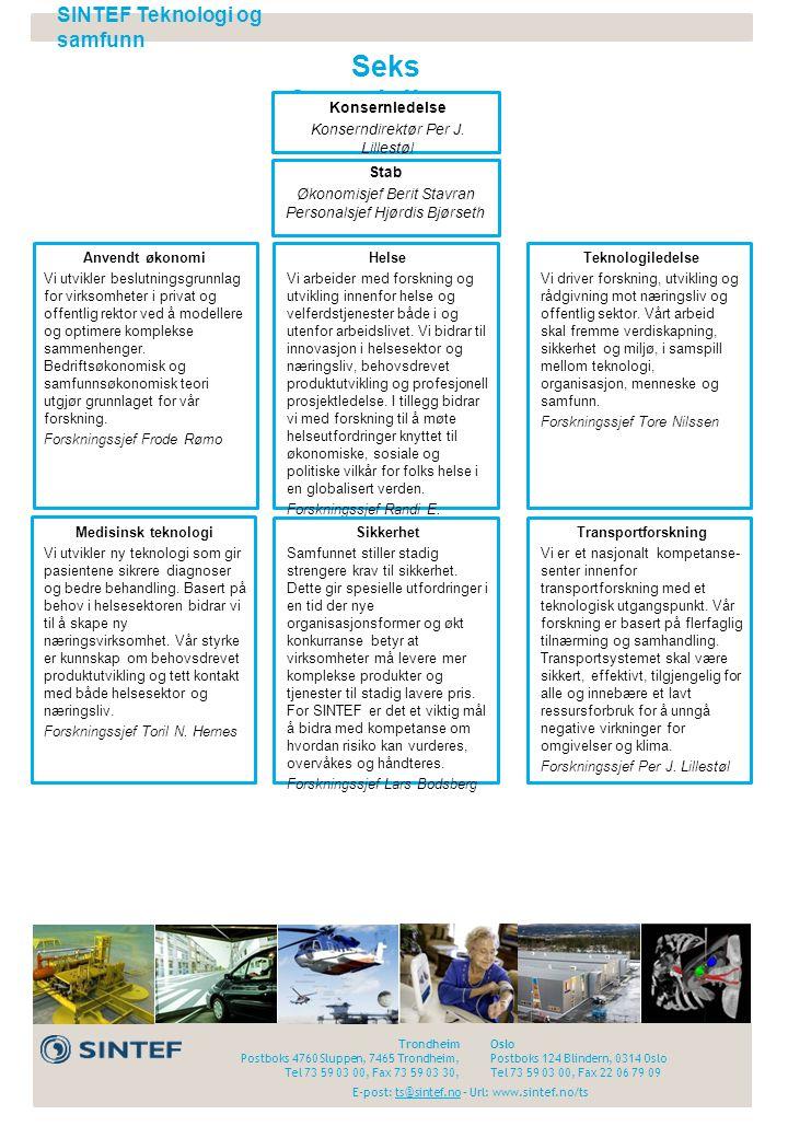 Seks fagavdelinger SINTEF Teknologi og samfunn Konsernledelse