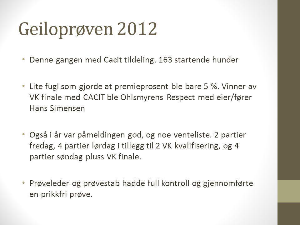 Geiloprøven 2012 Denne gangen med Cacit tildeling. 163 startende hunder.