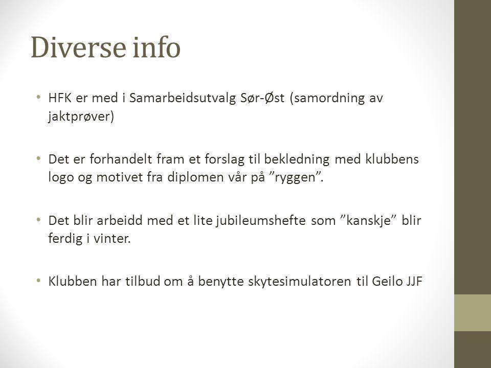 Diverse info HFK er med i Samarbeidsutvalg Sør-Øst (samordning av jaktprøver)