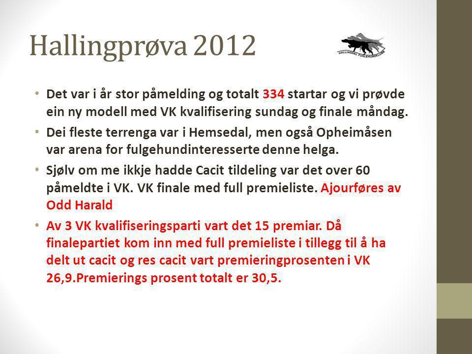Hallingprøva 2012 Det var i år stor påmelding og totalt 334 startar og vi prøvde ein ny modell med VK kvalifisering sundag og finale måndag.