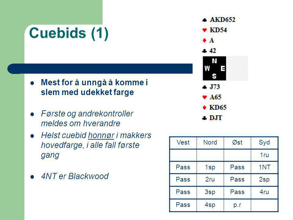 Cuebids (1) Mest for å unngå å komme i slem med udekket farge