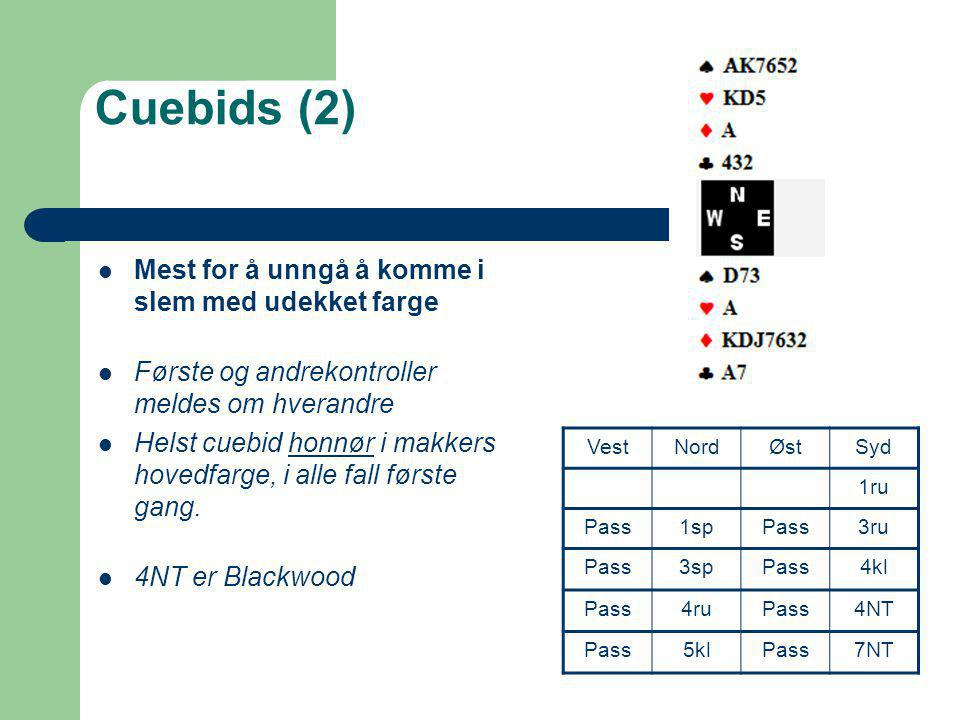 Cuebids (2) Mest for å unngå å komme i slem med udekket farge