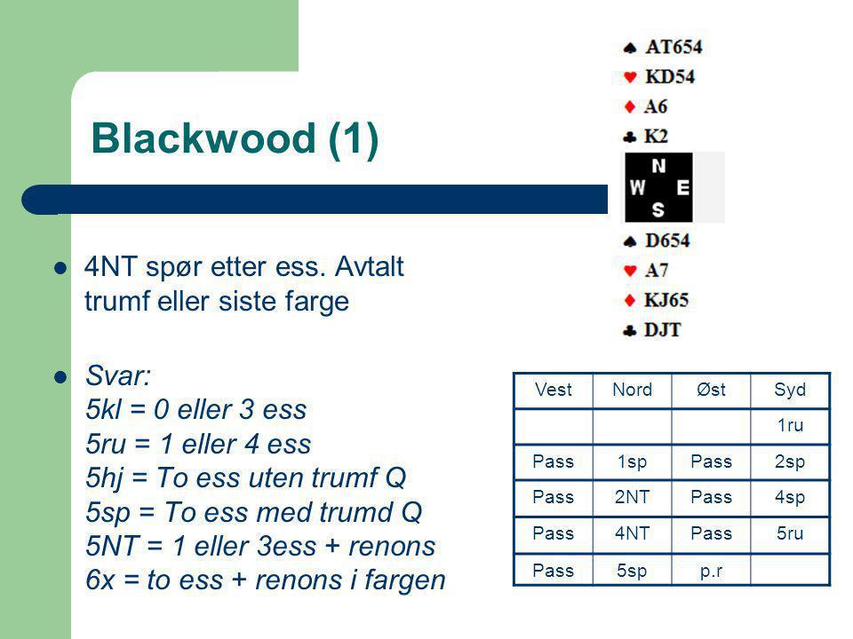 Blackwood (1) 4NT spør etter ess. Avtalt trumf eller siste farge