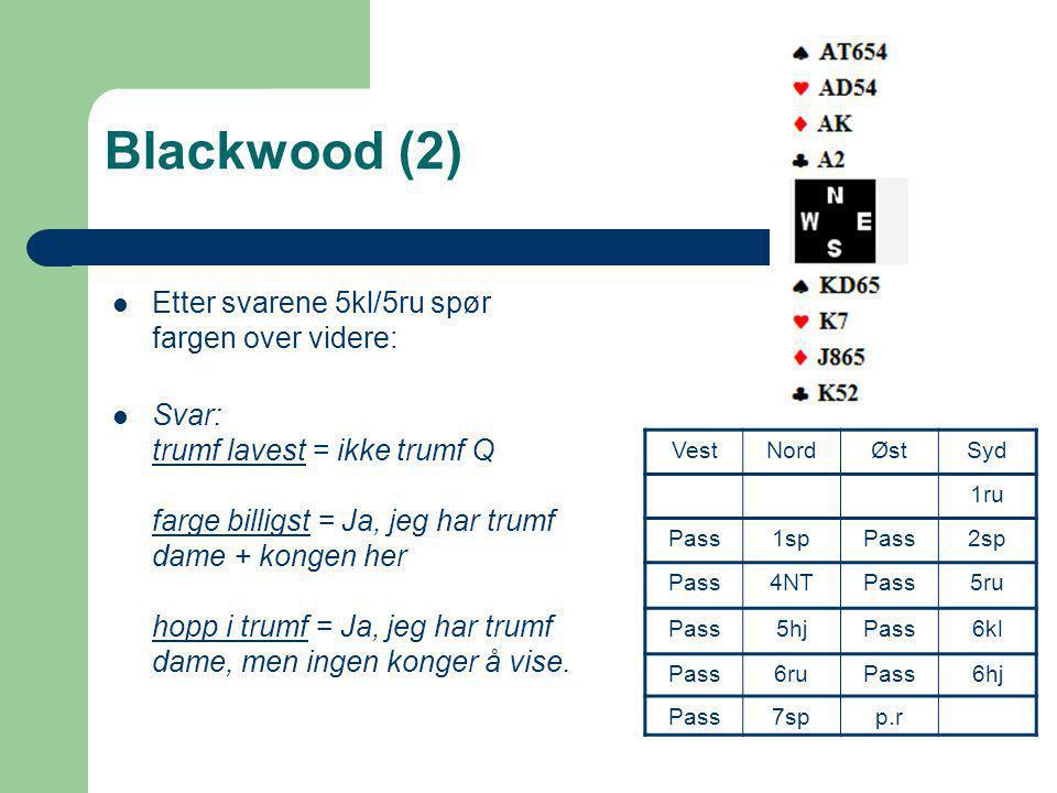 Blackwood (2) Etter svarene 5kl/5ru spør fargen over videre:
