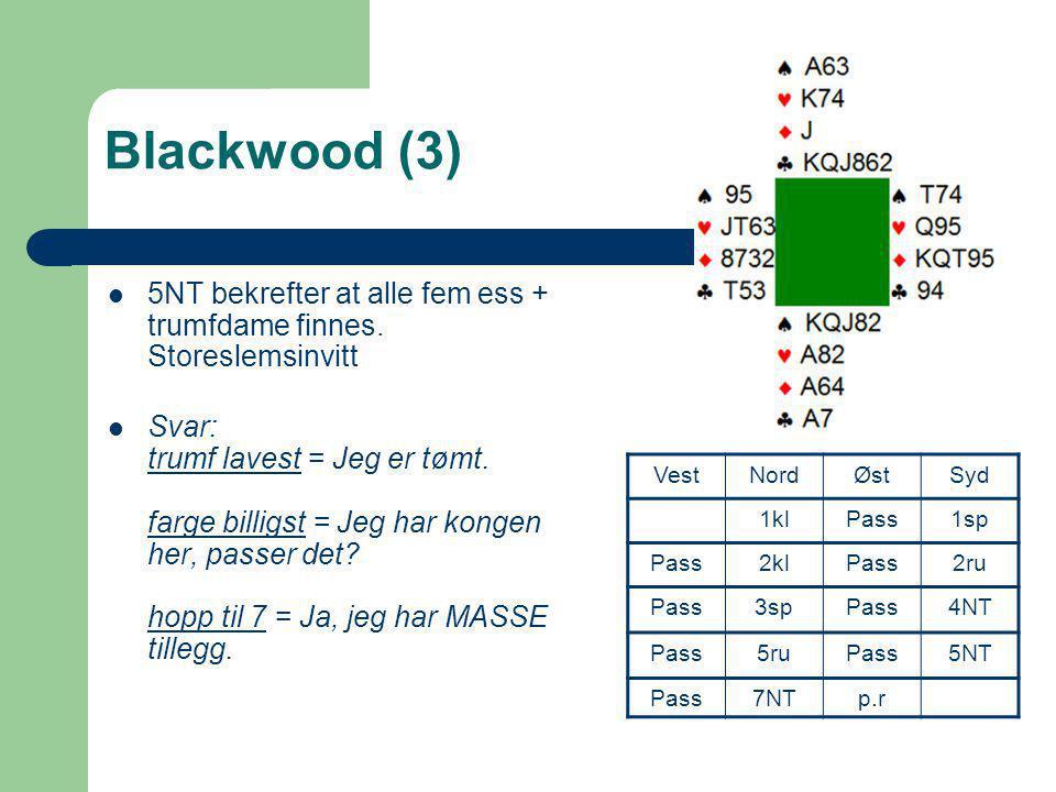 Blackwood (3) 5NT bekrefter at alle fem ess + trumfdame finnes. Storeslemsinvitt.