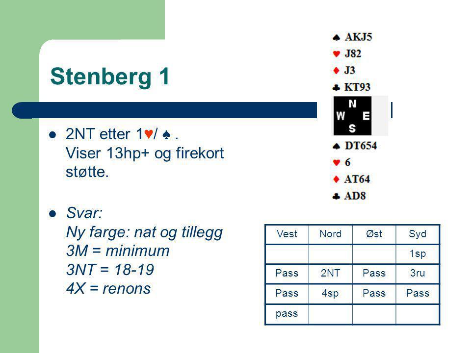 Stenberg 1 2NT etter 1♥/ ♠ . Viser 13hp+ og firekort støtte.