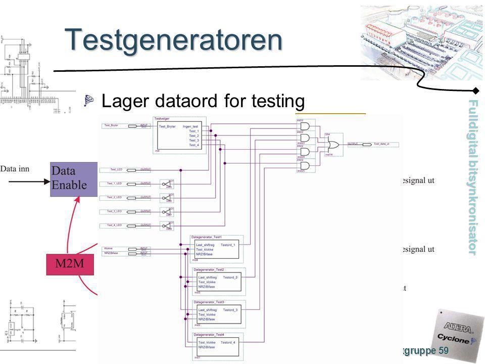 Testgeneratoren Lager dataord for testing Prosjektgruppe 59