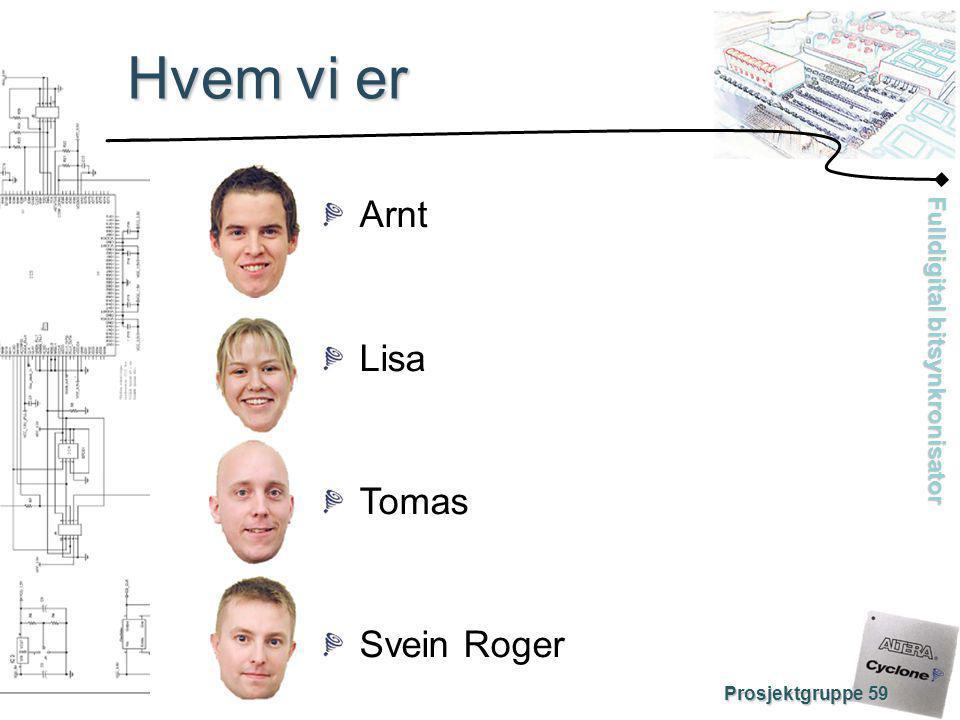 Hvem vi er Arnt Lisa Tomas Svein Roger Prosjektgruppe 59