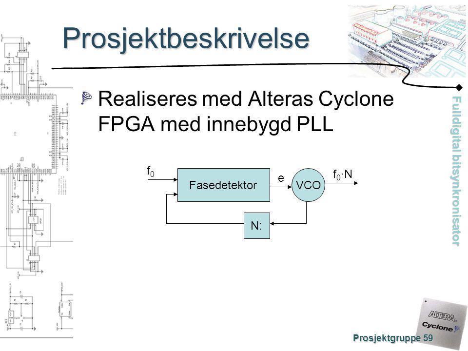 Prosjektbeskrivelse Realiseres med Alteras Cyclone FPGA med innebygd PLL. Fasedetektor. N: VCO. f0.