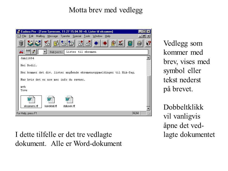 Motta brev med vedlegg Vedlegg som. kommer med. brev, vises med. symbol eller. tekst nederst. på brevet.