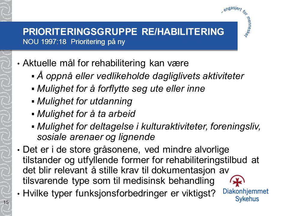 PRIORITERINGSGRUPPE RE/HABILITERING NOU 1997:18 Prioritering på ny