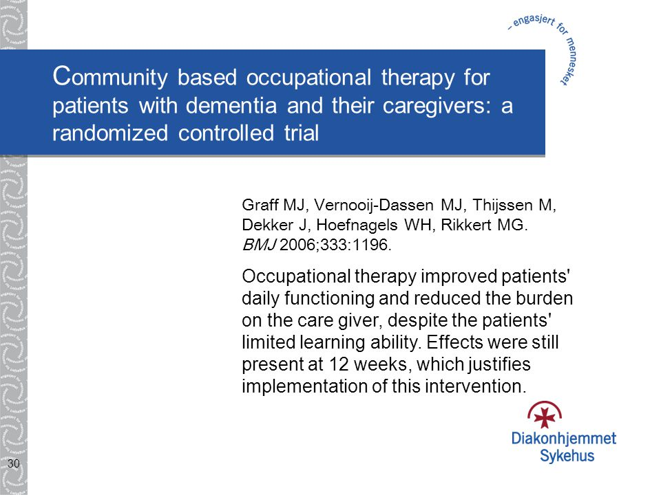 Community based occupational therapy for patients with dementia and their caregivers: a randomized controlled trial