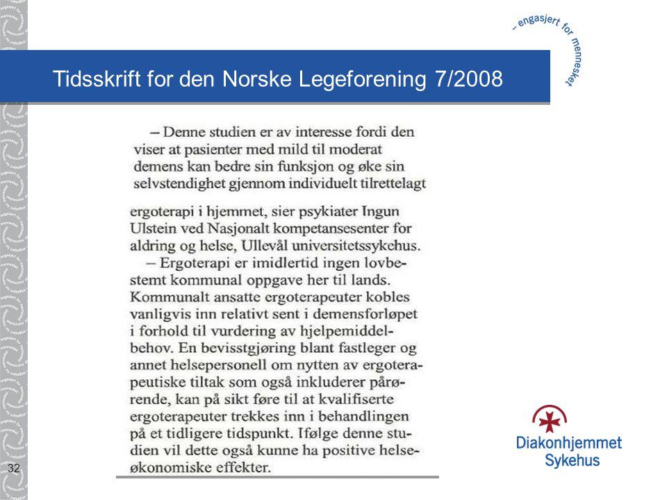 Tidsskrift for den Norske Legeforening 7/2008