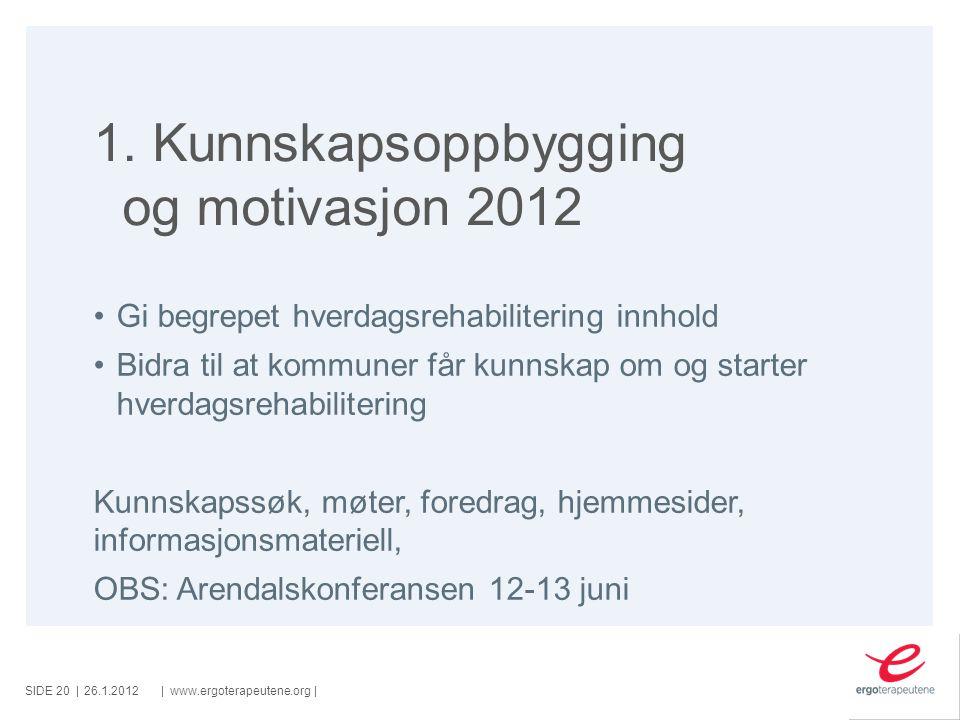 1. Kunnskapsoppbygging og motivasjon 2012