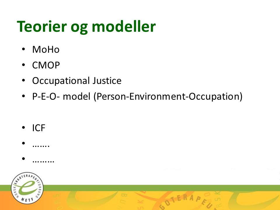 Teorier og modeller MoHo CMOP Occupational Justice