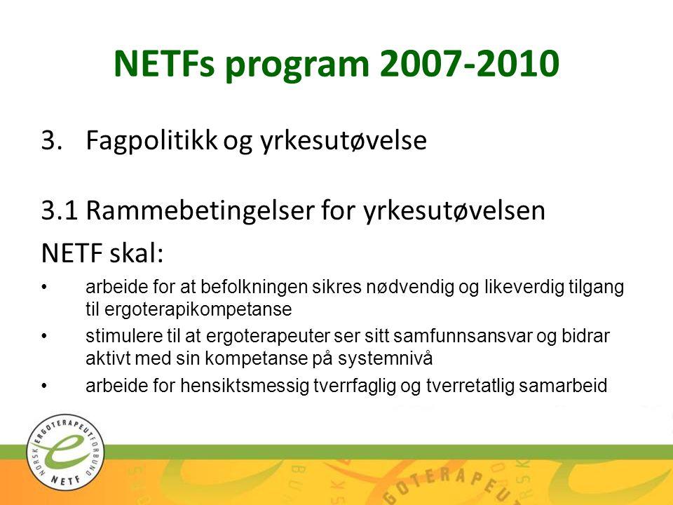 NETFs program 2007-2010 Fagpolitikk og yrkesutøvelse