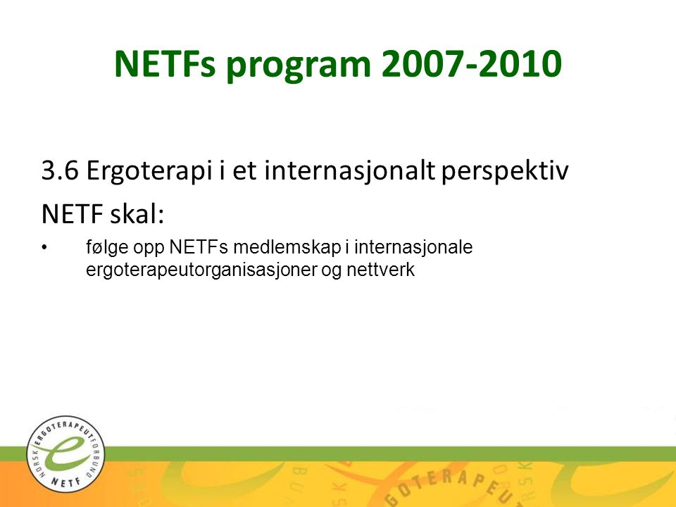 NETFs program 2007-2010 3.6 Ergoterapi i et internasjonalt perspektiv