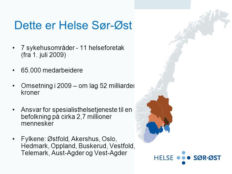 Dette er Helse Sør-Øst 7 sykehusområder - 11 helseforetak (fra 1. juli 2009) 65.000 medarbeidere.