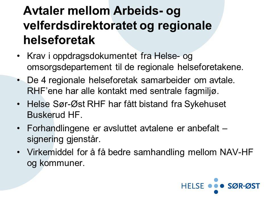 Avtaler mellom Arbeids- og velferdsdirektoratet og regionale helseforetak