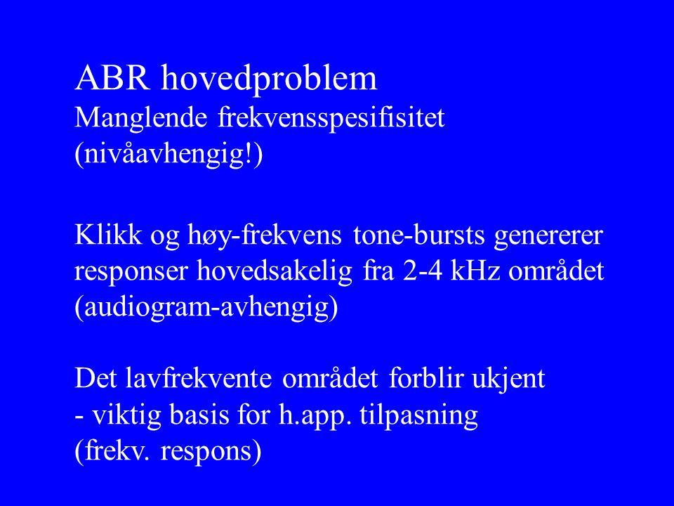 ABR hovedproblem Manglende frekvensspesifisitet (nivåavhengig!)
