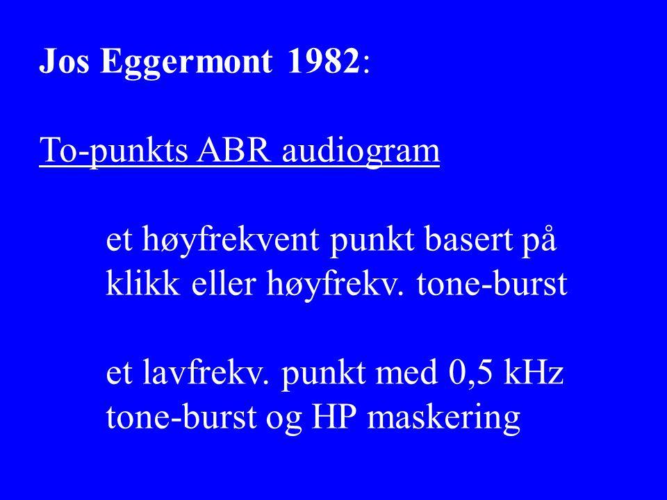 Jos Eggermont 1982: To-punkts ABR audiogram. et høyfrekvent punkt basert på. klikk eller høyfrekv. tone-burst.