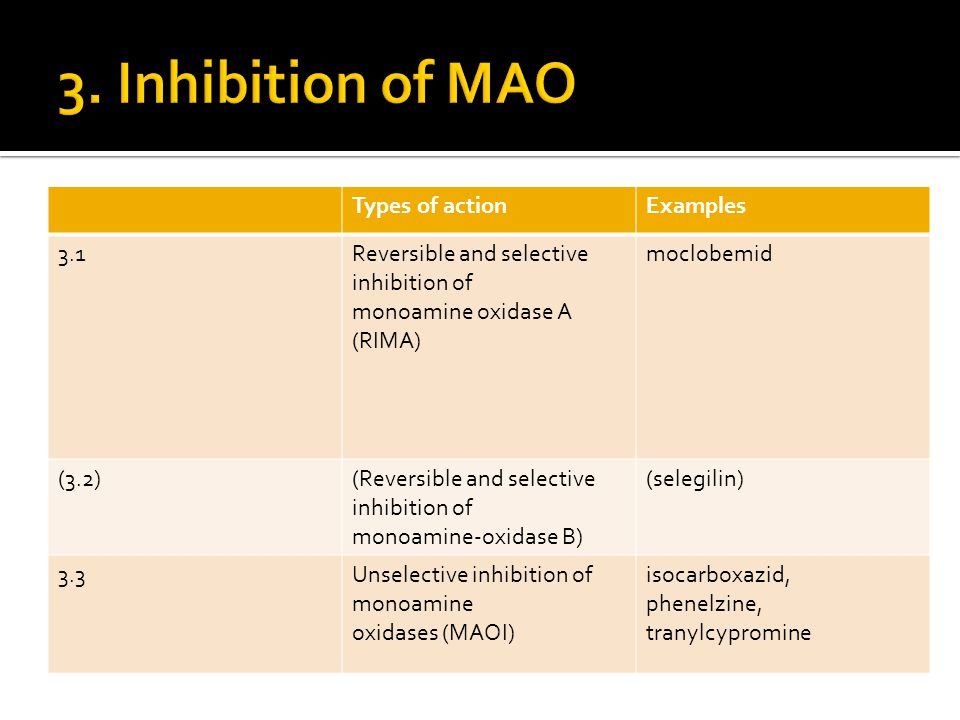 3. Inhibition of MAO Types of action Examples 3.1