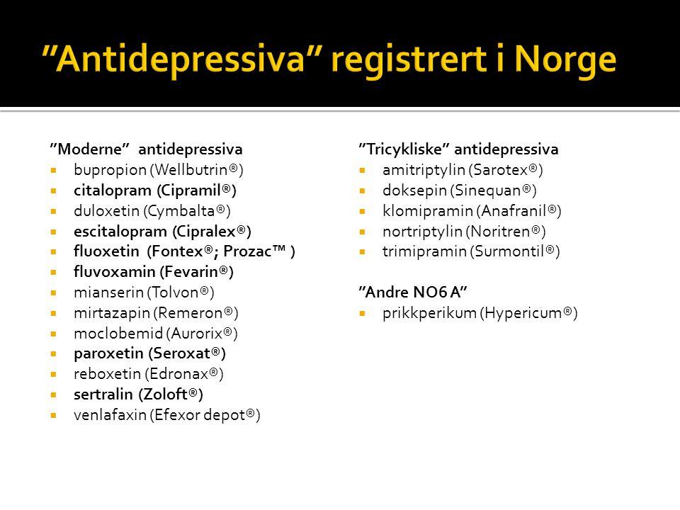 Antidepressiva registrert i Norge