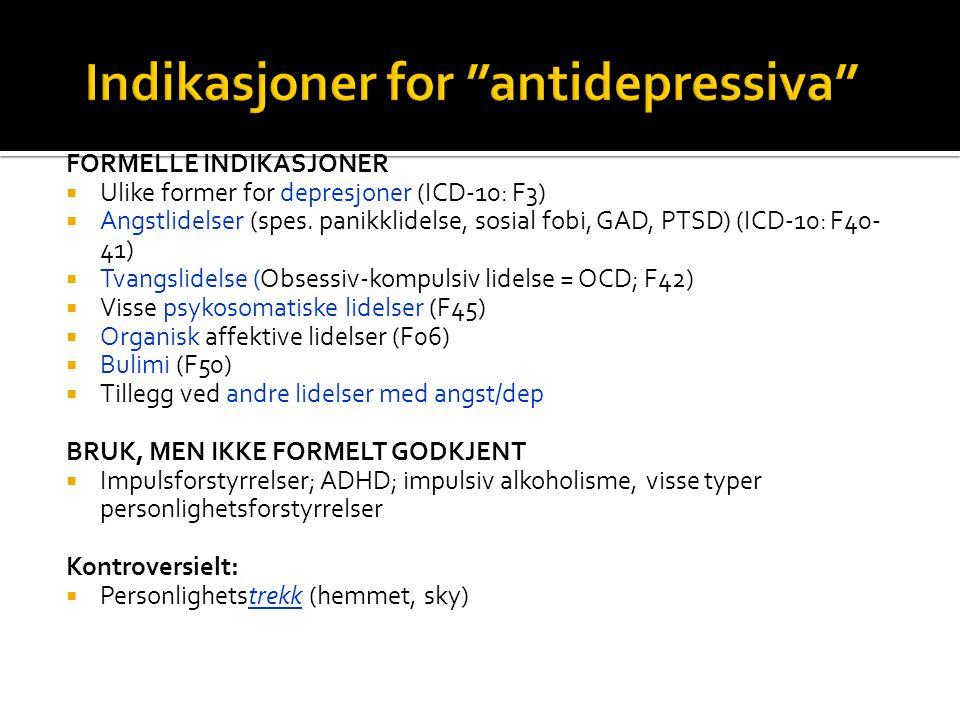 Indikasjoner for antidepressiva